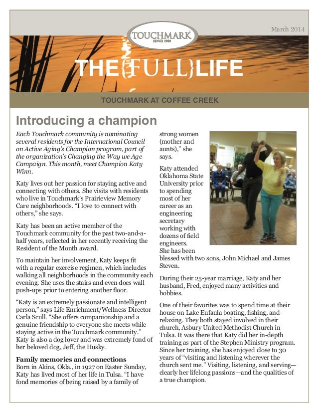 Touchmark at Coffee Creek - March 2014 Newsletter
