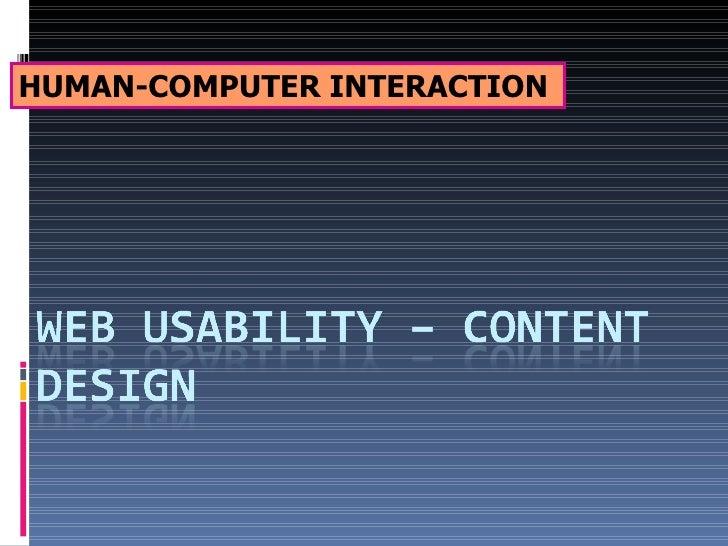Web Usability   Content Design