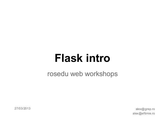 Flask intro - ROSEdu web workshops