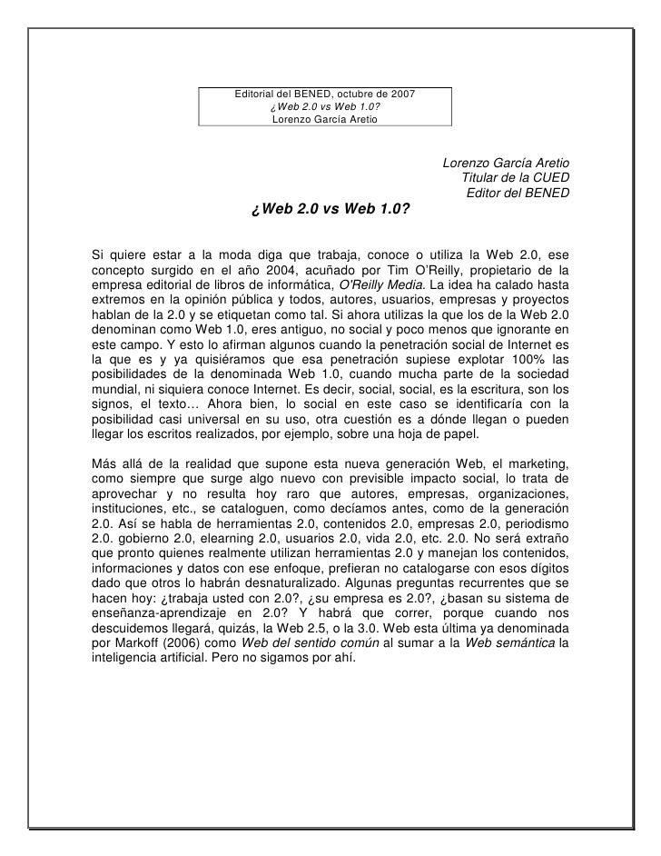 Editorial del BENED, octubre de 2007                                   ¿Web 2.0 vs Web 1.0?                               ...