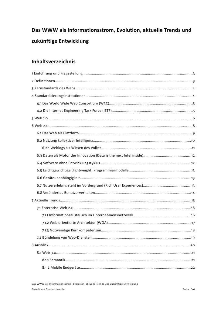 DasWWWalsInformationsstrom,Evolution,aktuelleTrendsund zukünftigeEntwicklung   Inhaltsverzeichnis 1Einführungun...