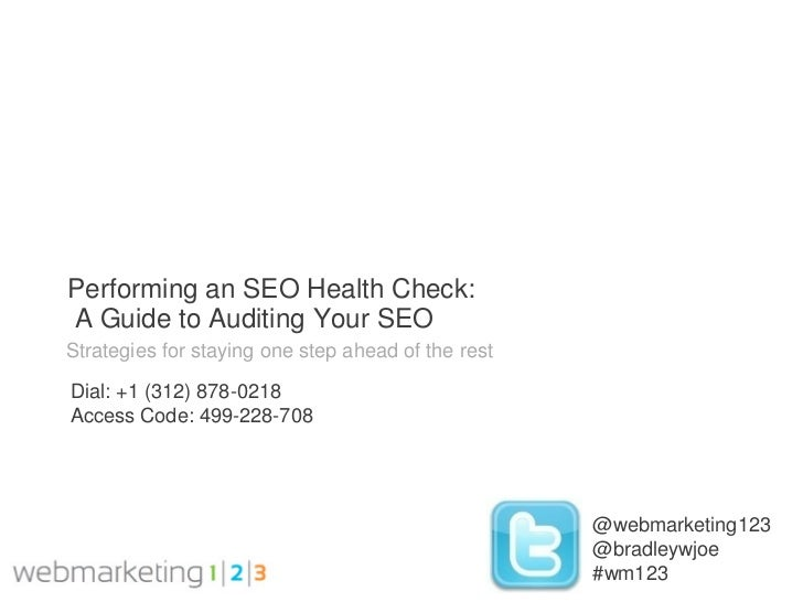 Performing an SEO Health Check:A Guide to Auditing Your SEOStrategies for staying one step ahead of the restDial: +1 (312)...