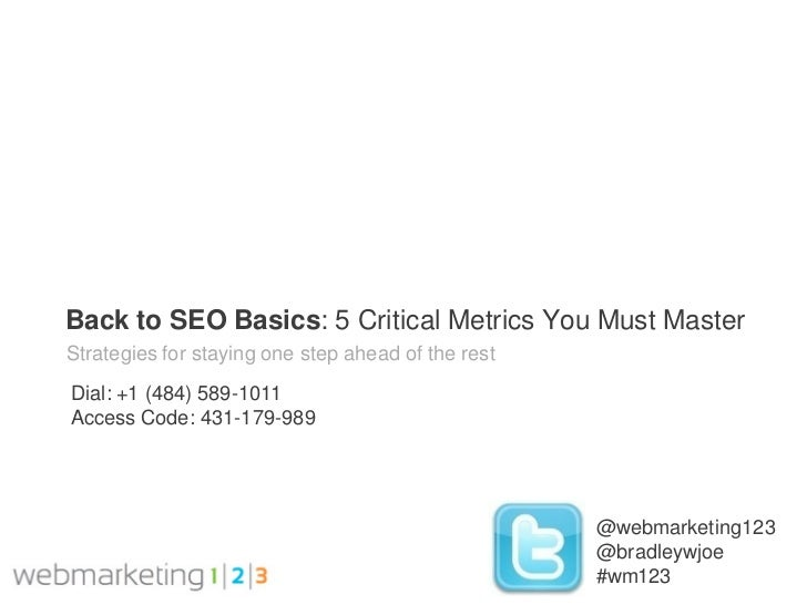 Back to SEO Basics: 5 Critical Metrics You Must MasterStrategies for staying one step ahead of the restDial: +1 (484) 589-...