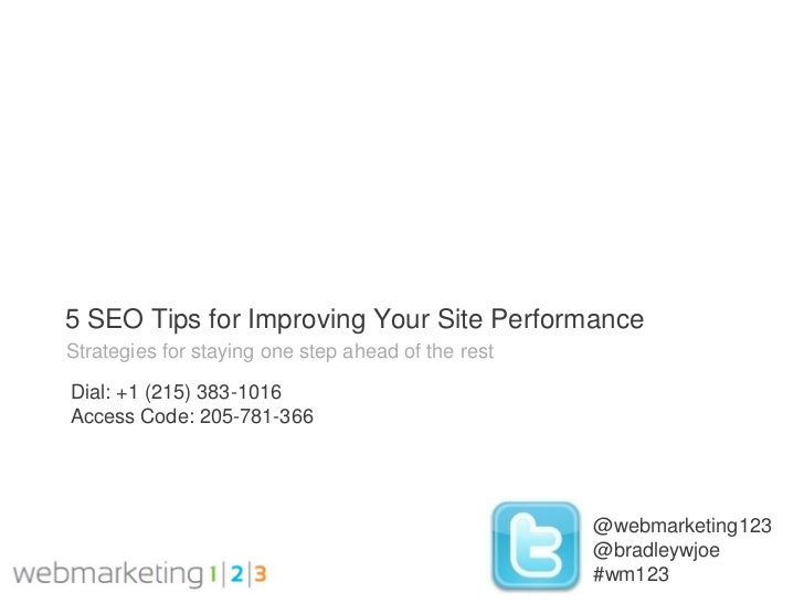 Web123 SEO Tips For Improving Site Performance-10-20-2011