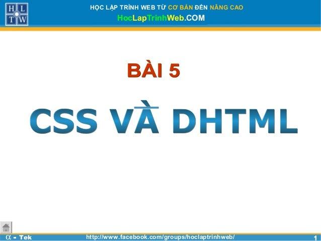 Bài 5 - CSS và DHTML - Học lập trình web cơ bản với Html, Css, Javascript