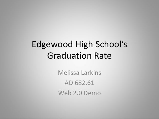 Edgewood High School's Graduation Rate Melissa Larkins AD 682.61 Web 2.0 Demo