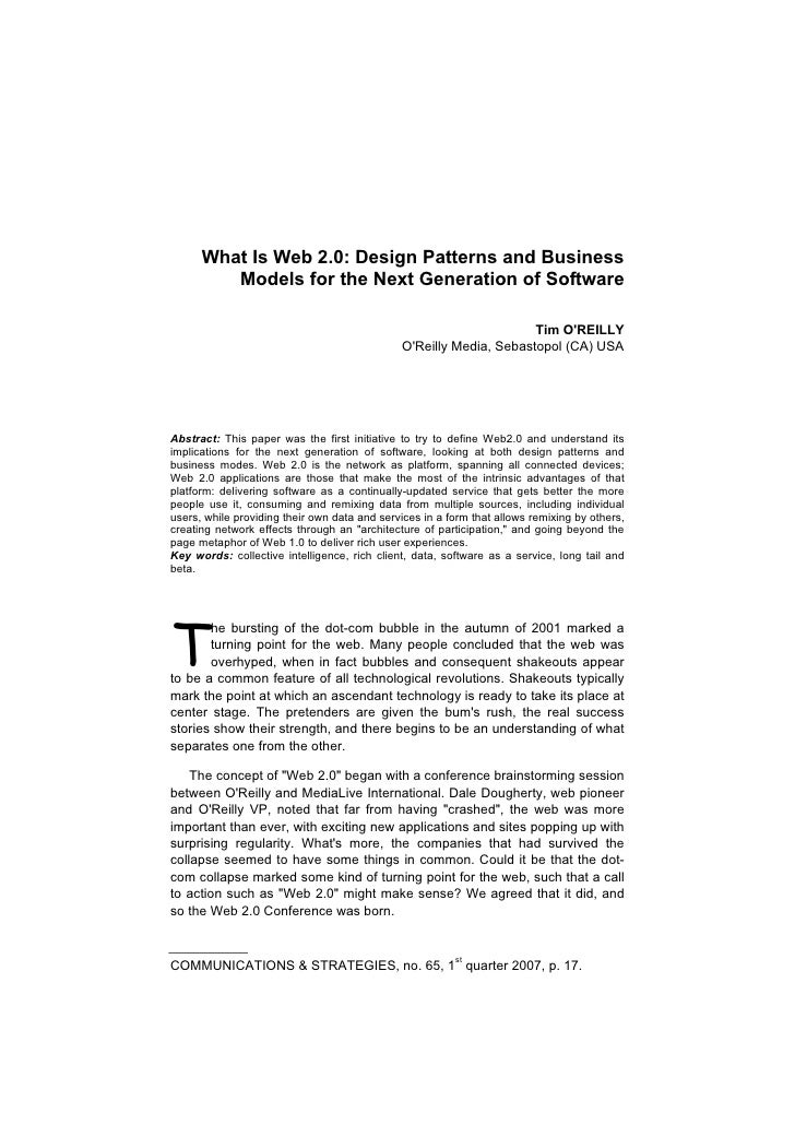 What Is Web 2.0: Design Patterns and Business         Models for the Next Generation of Software                          ...