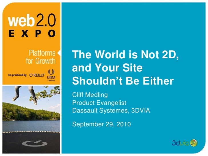 The World is Not 2D, and Your Site Shouldn't Be Either Cliff Medling Product Evangelist Dassault Systemes, 3DVIA  Septembe...