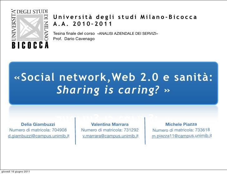 Università degli studi Milano-Bicocca                         A.A. 2010–2011                         Tesina finale del cors...