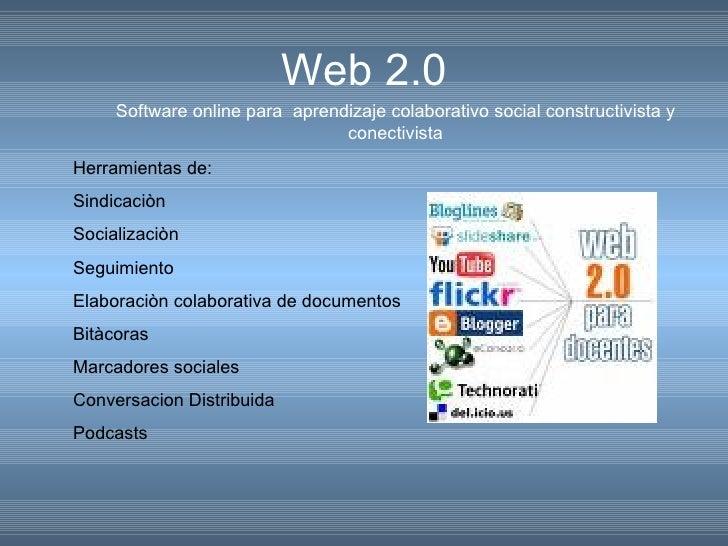 Web 2.0 Software online para  aprendizaje colaborativo social constructivista y conectivista Herramientas de: Sindicaciòn ...