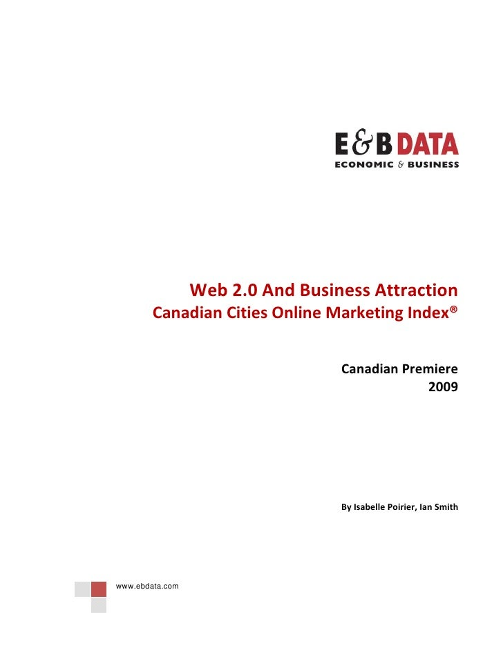 Web 2.0 And Business Attraction   Canadian Cities Online Marketing Index
