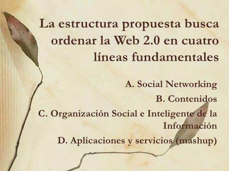 La estructura propuesta busca ordenar la Web2.0 en cuatro líneas fundamentales A. Social Networking B. Contenidos C. Orga...