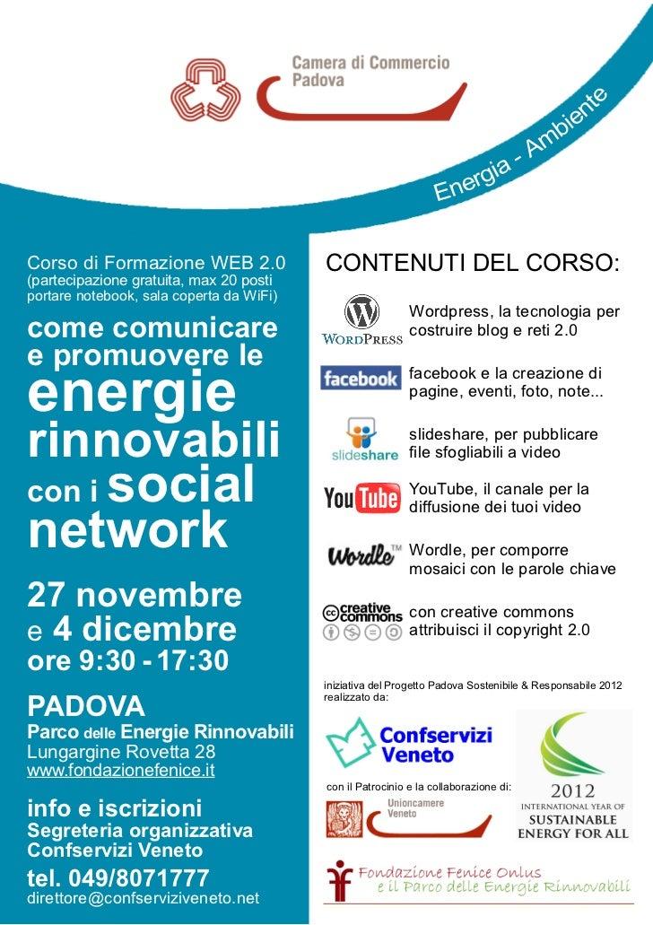 Web 2.0 comunicare e promuovere le energie rinnovabili corso formazione padova 2012