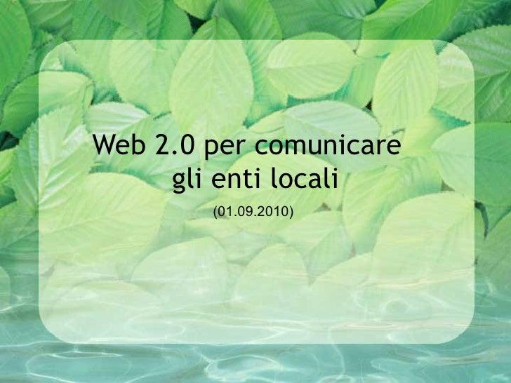 Web 2.0 e comunicazione enti locali