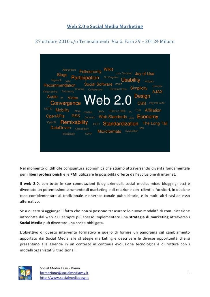 Web 2.0 e social media marketing MILANO