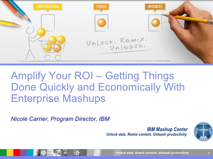 IBM Mashup Center Unlock data. Remix content. Unleash productivity. Amplify Your ROI – Getting Things Done Quickly and Eco...