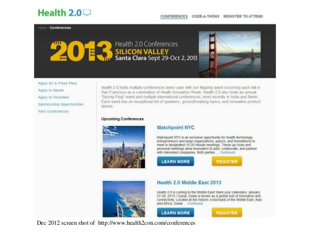 Dec 2012 screen shot of http://www.health2con.com/conferences