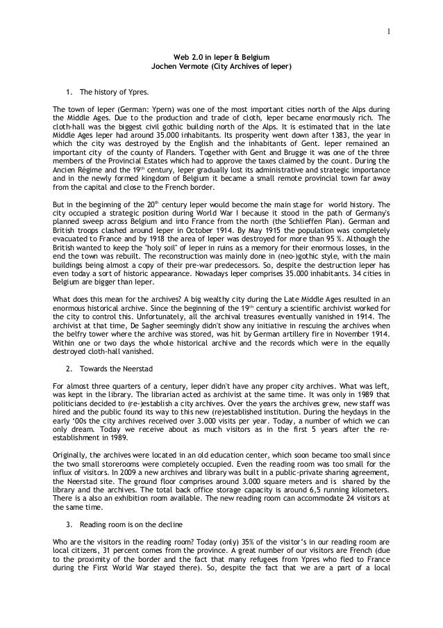 1                                    Web 2.0 in Ieper & Belgium                               Jochen Vermote (City Archive...