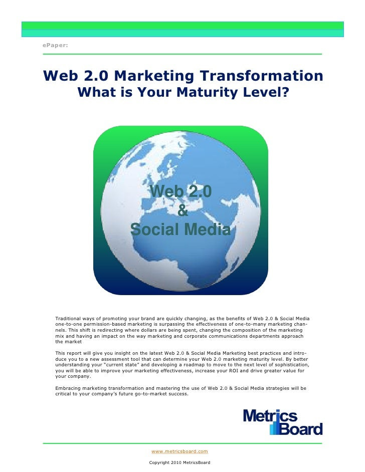 ePaper:     Web 2.0 Marketing Transformation             What is Your Maturity Level?                                     ...