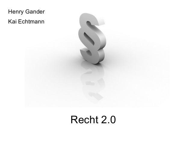 Recht 2.0 Henry Gander Kai Echtmann