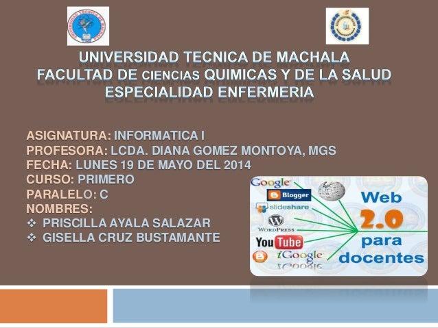 ASIGNATURA: INFORMATICA I PROFESORA: LCDA. DIANA GOMEZ MONTOYA, MGS FECHA: LUNES 19 DE MAYO DEL 2014 CURSO: PRIMERO PARALE...