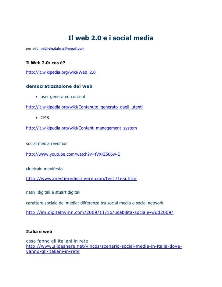 Web 2 0 - Michele D'Alena