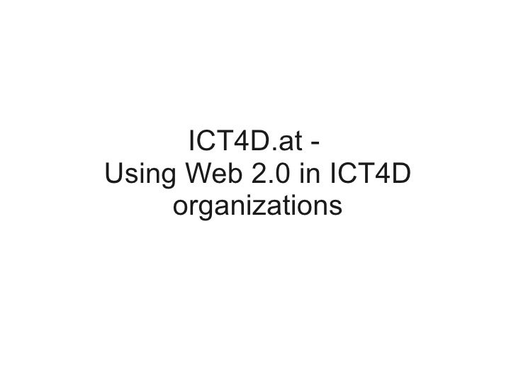 ICT4D.at - Using Web 2.0 in ICT4D      organizations