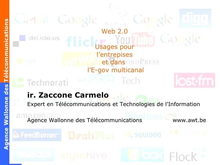 Web 2.0 Usages pour l'entrepises et dans   l'E-gov multicanal ir. Zaccone Carmelo Expert en Télécommunications et Technolo...