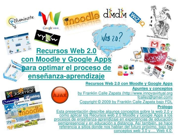 Recursos Web 2.0con Moodle y Google Appspara optimar el proceso de  enseñanza-aprendizaje                            Recur...