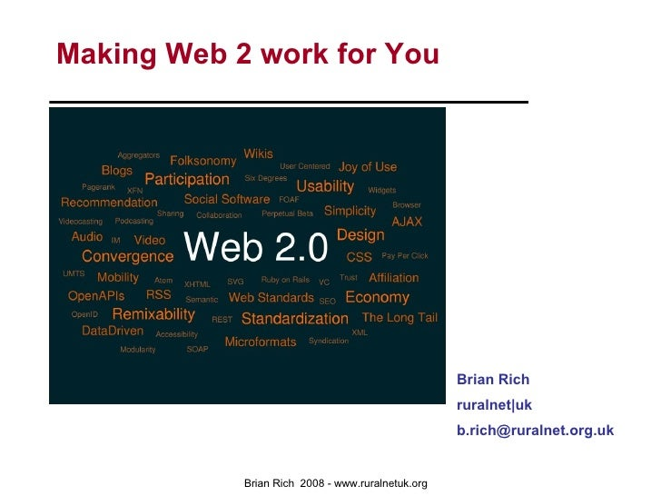 Making Web 2 work for You Brian Rich ruralnet|uk [email_address]