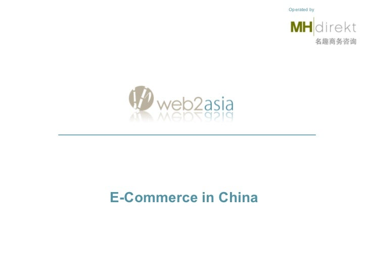 E-Commerce in China Operated by
