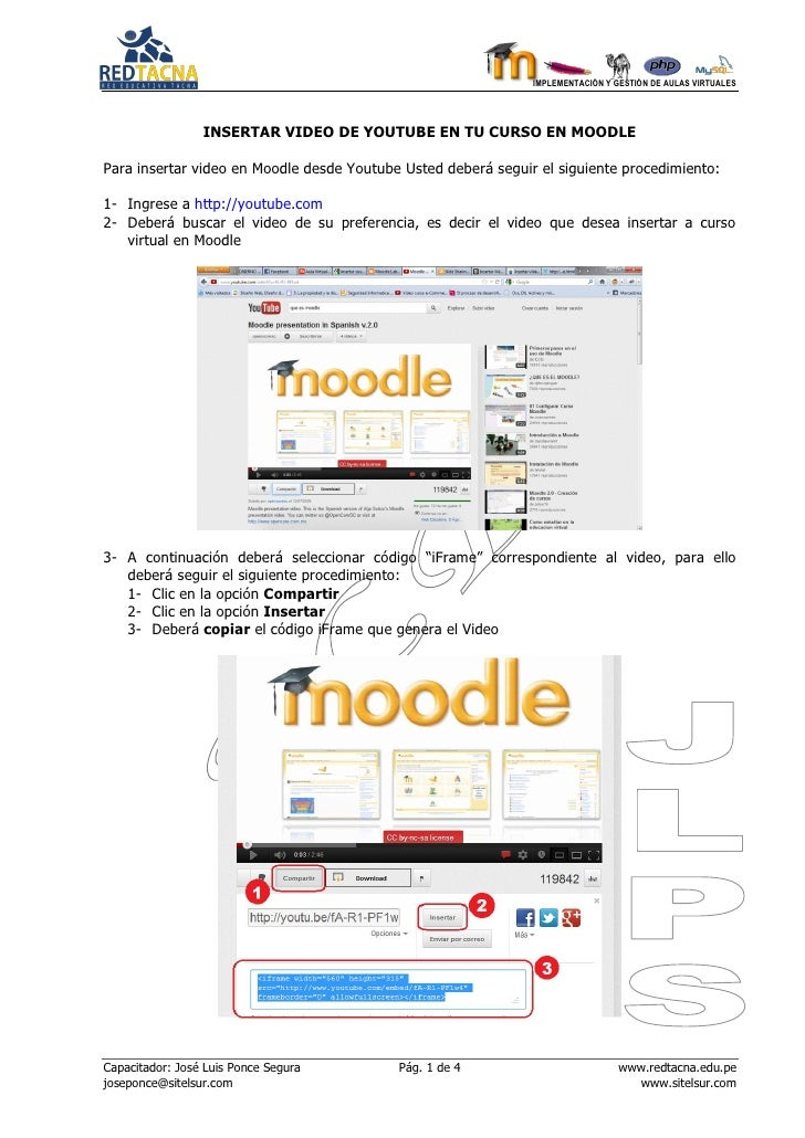 Insertar Videos Youtube en Moodle