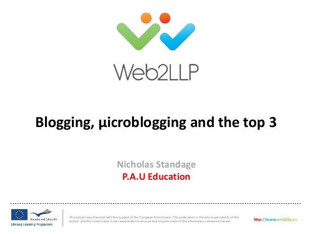 Session 2: Nicholas Standage (PAU) Blogging, µicroblogging and the top 3