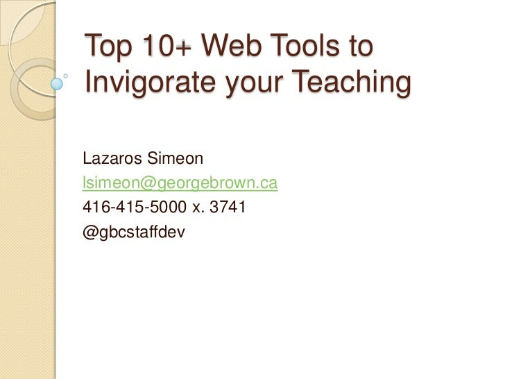 Top 10 Web Tools for Teaching and Learning