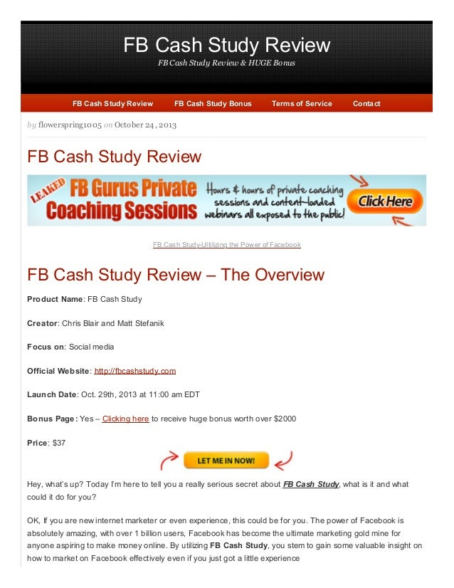 FB Cash Study Review- The marketing gold mine for anyone aspiring to MMO