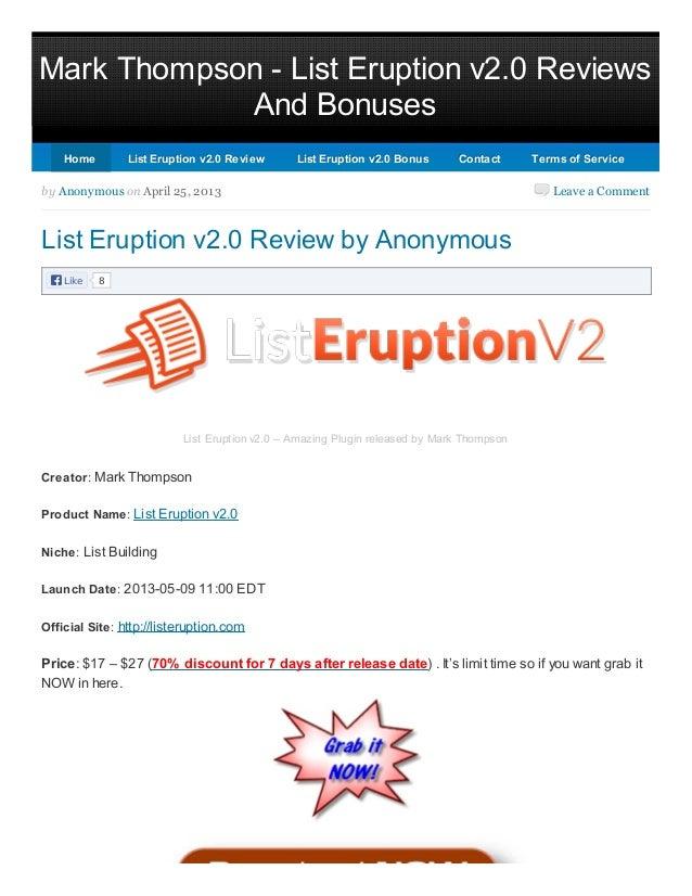 List Eruptions 2.0 | List Eruptions 2.0 Review & Bonus