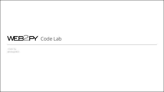 Web2py Code Lab