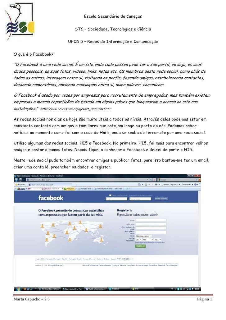 """O que é o Facebook?<br />""""O Facebook é uma rede social. É um site onde cada pessoa pode ter o seu perfil, ou seja, os seus..."""