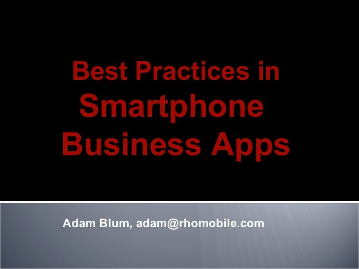 Best Practices in Smartphone Business Apps