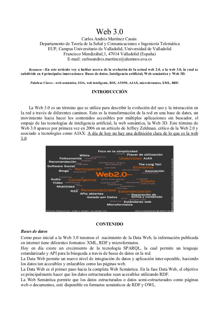 Web 3.0                                 Carlos Andrés Martínez Casais           Departamento de Teoría de la Señal y Comun...