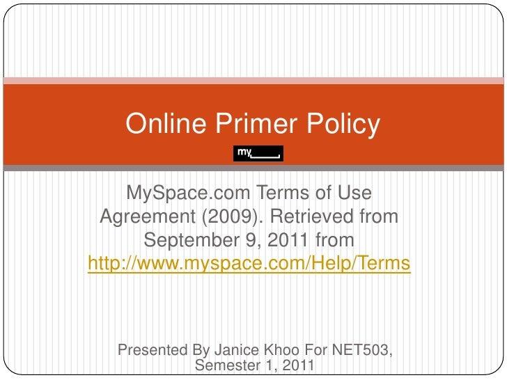 NET503 Online Primer Policy on MySpace,com