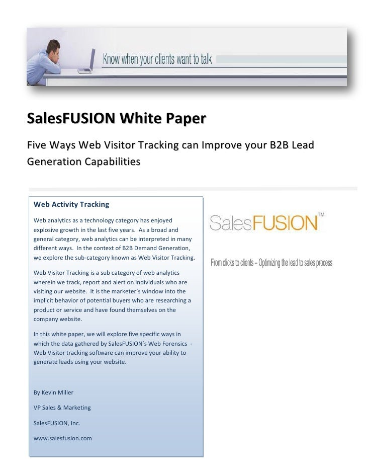 SalesFUSION White Paper Five Ways Web Visitor Tracking can Improve your B2B Lead Generation Capabilities    Web Activity T...