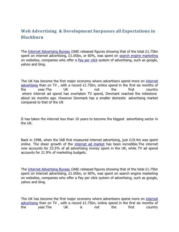 Web Advertising  & Development Surpasses all Expectations in Blackburn<br />The Internet Advertsing Bureau (IAB) released ...