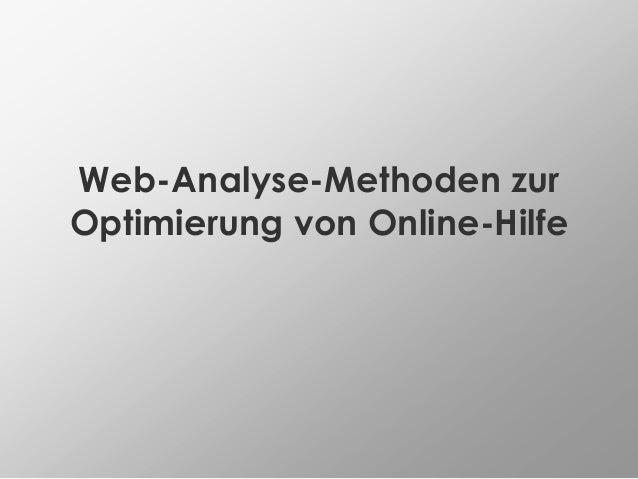 Web-Analyse-Methoden zur Optimierung von Online-Hilfe