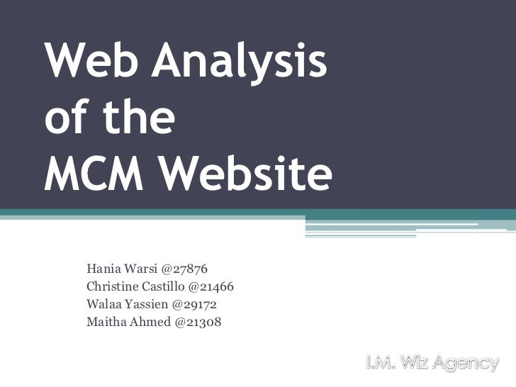 Content Analysis of MCM Website