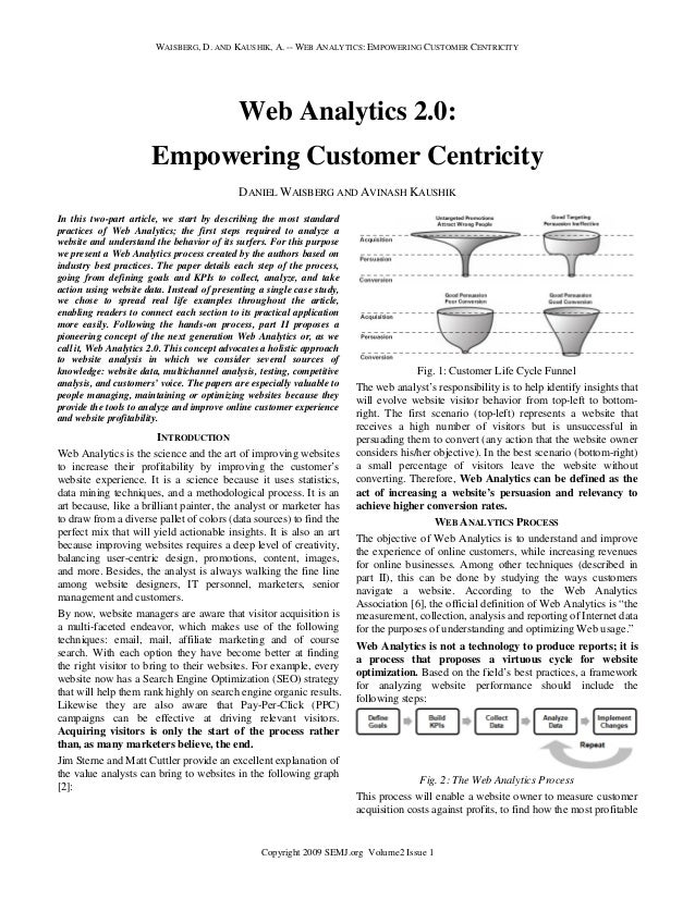 WAISBERG, D. AND KAUSHIK, A. -- WEB ANALYTICS: EMPOWERING CUSTOMER CENTRICITY  Web Analytics 2.0: Empowering Customer Cent...