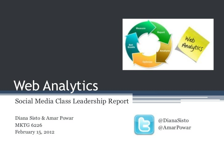Web AnalyticsSocial Media Class Leadership ReportDiana Sisto & Amar Powar               @DianaSistoMKTG 6226              ...