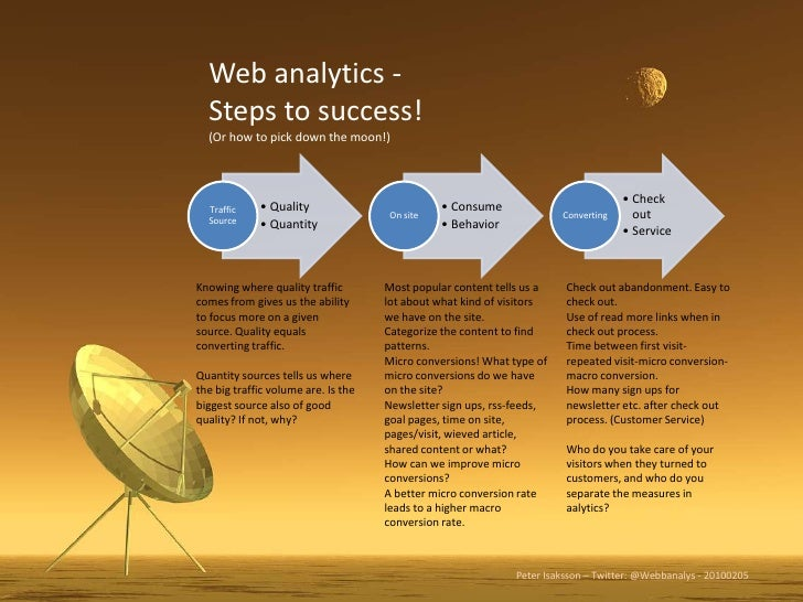 Web analytics - Steps to success!<br />(Or how to pick down the moon!)<br />Knowing where quality traffic comes from gives...