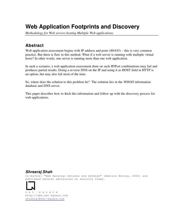 Web App Footprints Discovery