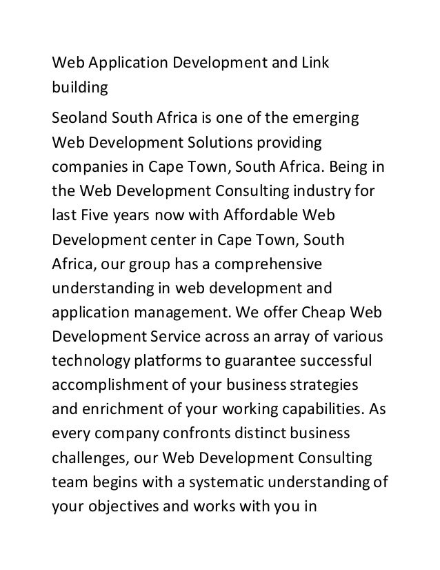 Web Application Development and Link building Seoland South Africa is one of the emerging Web Development Solutions provid...